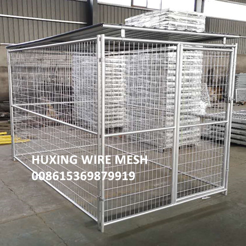 Outdoor Galvanised Mesh Dog Run Panel with Steel Cover Roof