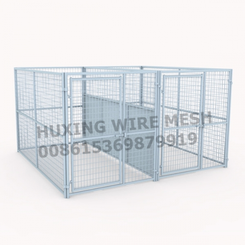 Welded Wire Steel Dog Kennel 2 Runs 10x10x6FT with Fight Guard Divider